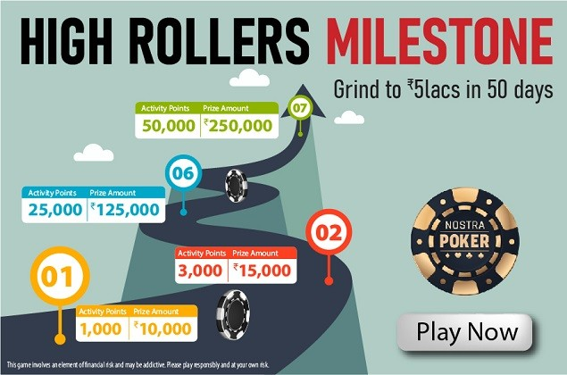 "NostraPoker's ""High Rollers Milestone"" Promotion: Win Up To ₹5 Lakhs in 50 Days"